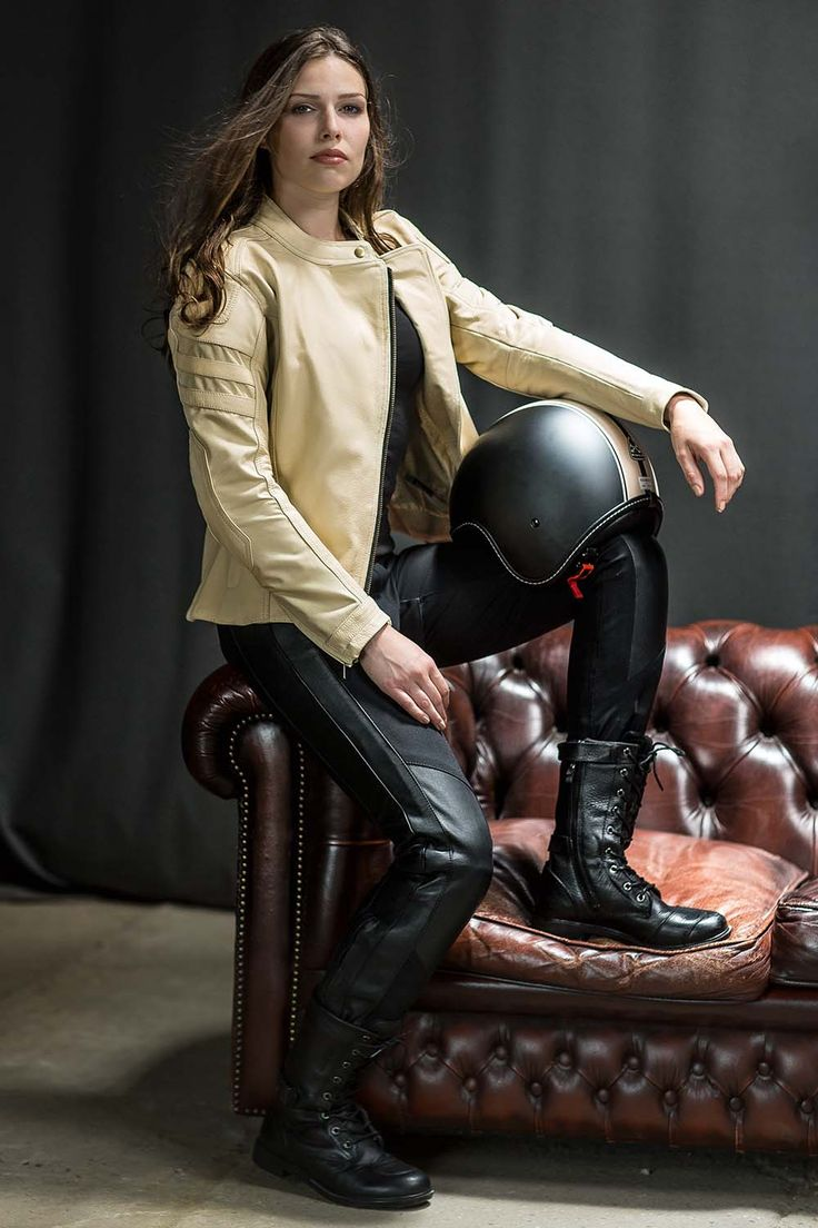What an outfit! Difi Roxy ladies textile/leather motorcycle jacket. Difi Summer textile/leather pants. Difi Ladies Virginia leather motorcycle boots & Bayard XP-18 S Open Face Crash helmet. All available at www.moto65.co.uk