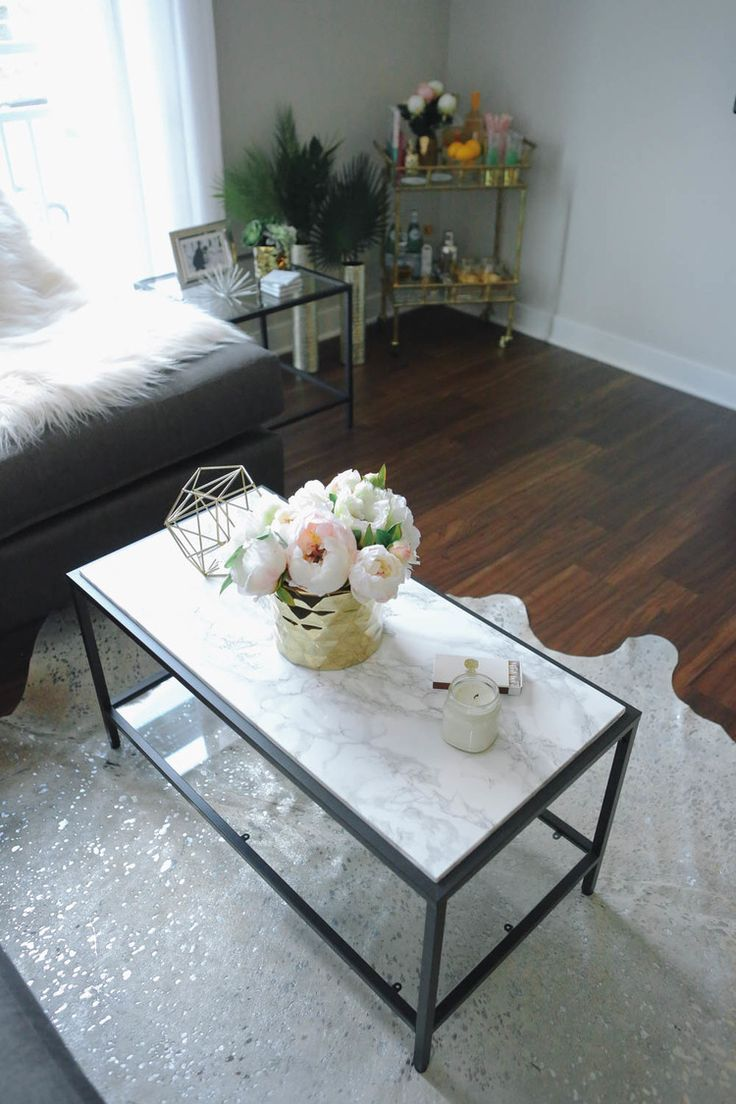 marble coffee table, vittsjo ikea hack, pink peonies, home decor, cowhide rug