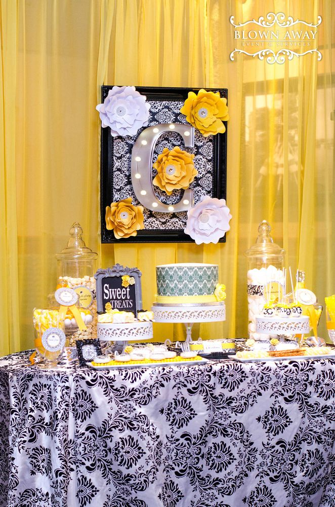 Fantastic damask and yellow birthday party! See more party ideas at CatchMyParty.com!