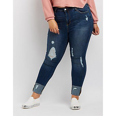 Cello Destroyed Cuffed Skinny Jeans
