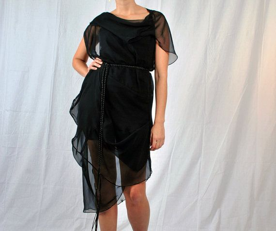 Cascade Dress/Tunic  Asymmetrical Black Chiffon by danielacosovic, $175.00