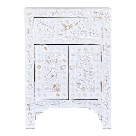 Description Mother Of Pearl Inlay Handmade Bedside Table Home