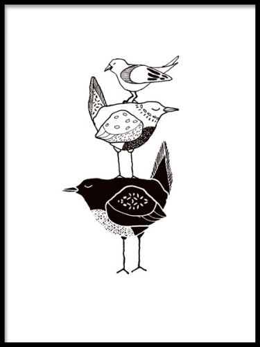 Poster för barn med grafiska fåglar i svartvitt. Snygga stilrena tavlor till barnrummet.