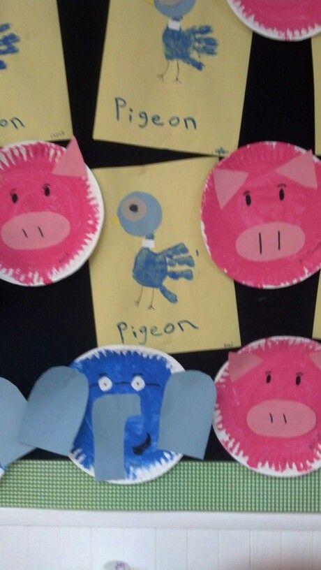 Piegeon, Elephant, & Piggie Crafts Mo Willems week in Toddler Room