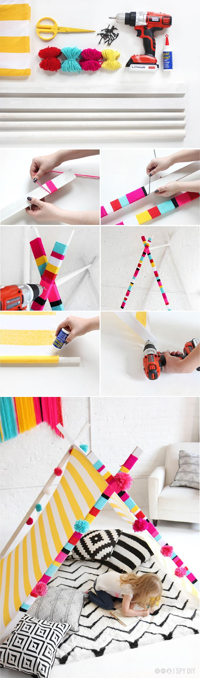 DIY STEPS | YARN WRAPPED TEEPEE ... trying this for the kids over the summer.