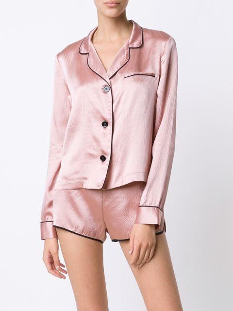 Fleur Du Mal piped trim pyjama top