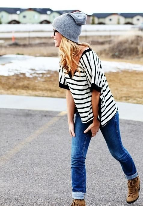 beanie, stripe, jeans, and military boots