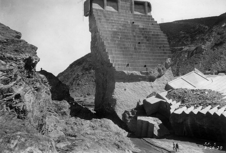 "St. Francis Dam ""Tombstone,"" after the dam failed http://www.owensvalleyhistory.com/ov_aqueduct1/sf_dam04.JPG"