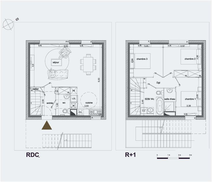 Plan Maison A Etage 100m2   Plan maison, Plan maison 100m2, Maison a etage