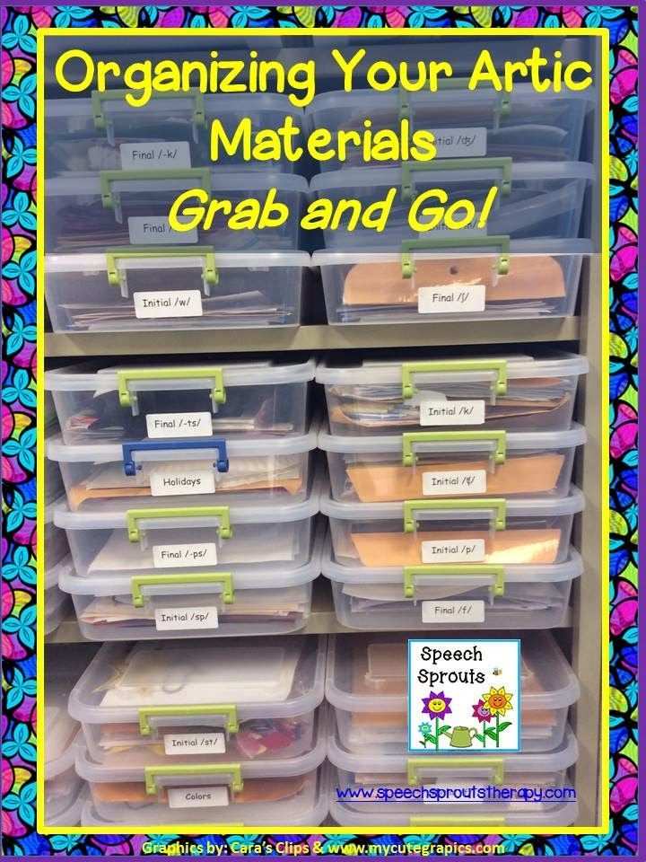 Great way to Organize for Grab and Go Speech Therapy! www.speechsproutstherapy.com