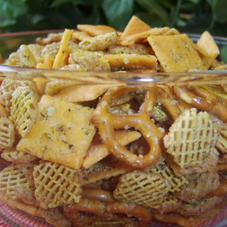 RANCH CHEESE MIX: 3 cups crispix cereal (kellogg's) 3 cups cheeze (it white cheddar crackers or 3 cups cheez-it ranch crackers) 1 cup pretzels (small) 58 oz ranch dip mix (dry) 12 tsp garlic powder 12 tsp lemon pepper 1 tsp dill weed 14 cup vegetable oil- Very good!