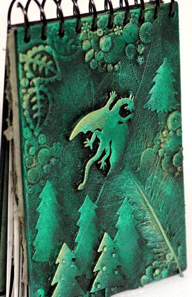 OOAK Artist sketchbook. Notebook journal. Green dragon. A5 Custom order. Collage cover. Spiral bound. Assorted Watercolour Pastel Handmade