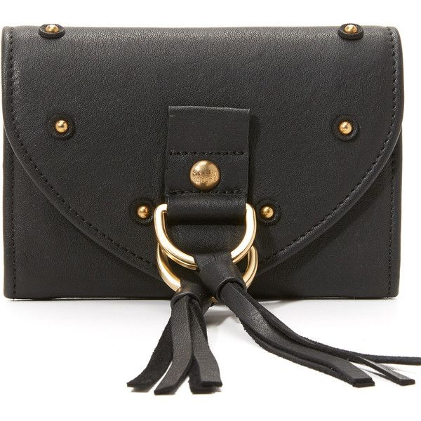 See by Chloe Collins Wallet (235 AUD) ❤ liked on Polyvore featuring bags, wallets, black, real leather wallet, pocket wallet, see by chloe wallet, see by chloe bags and genuine leather bag