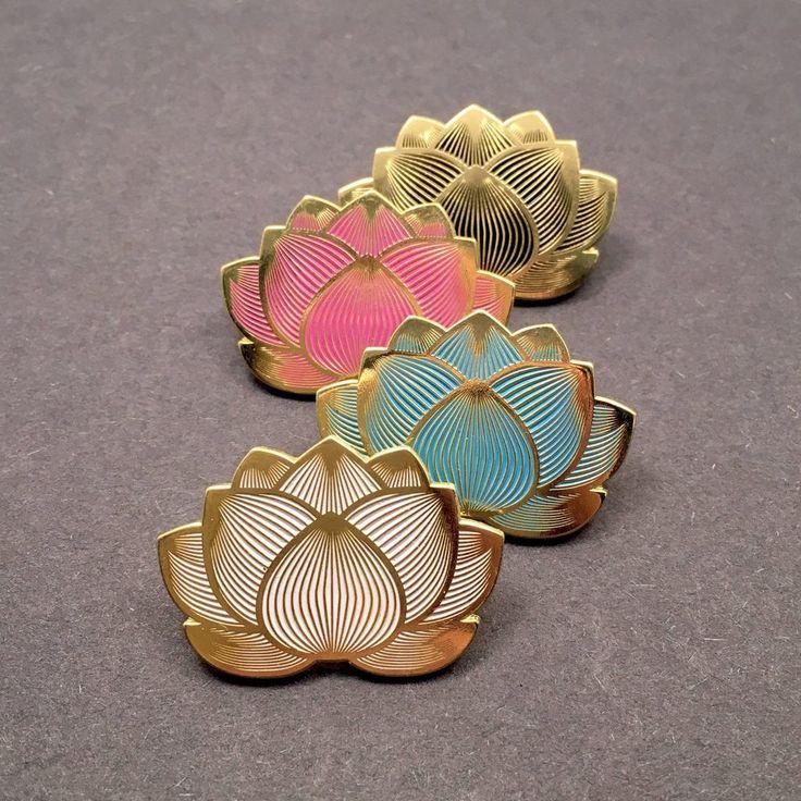 Lotus Flower Pins Enamel pins, Flower pins, Cute pins