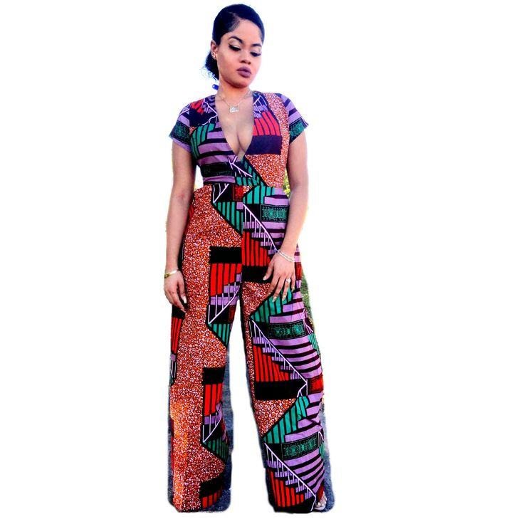 GLOW African Print Deep Neckline Wide-Leg Jumpsuit - Zabba Designs African Clothing Store  - 1