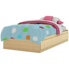 twin platform bed frame with storage drawers in natural maple - Twin Platform Bed Frame
