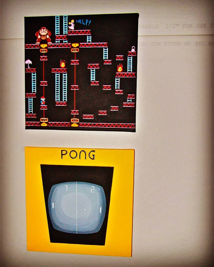 By supervideogameland: Donkey Pong.  #art #gameart #retrogaming #instagamers #acrylicpainting #retroart #retro #homedecor #nerdart #geekart #videogames #arcade #ninstagram #donkeykong #pong #arcade #micrhobbit