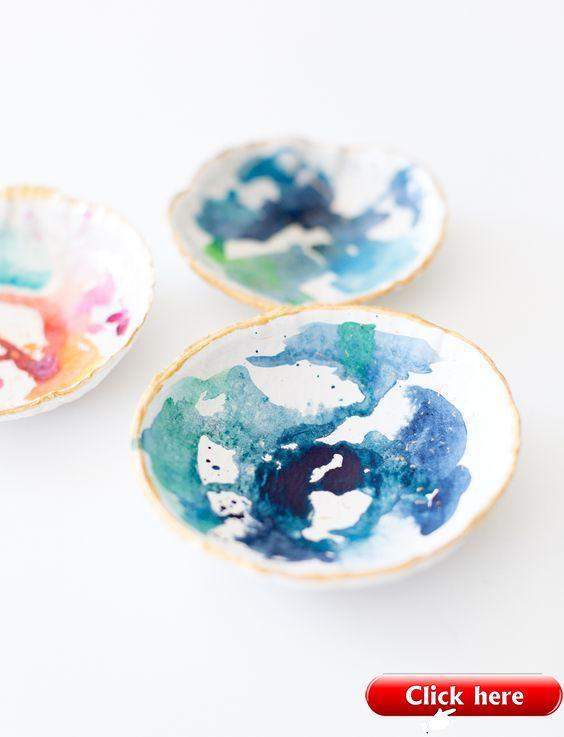 DIY watercolour clay bowl | DIY Crafts | Crafting | #diy #diycrafts #crafts #uns…