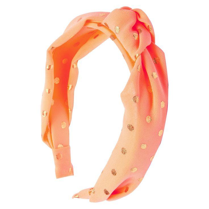 Ta-da Girls' Fabric-Knot Headband Coral (Pink) Gold Polka Dot 1 Count