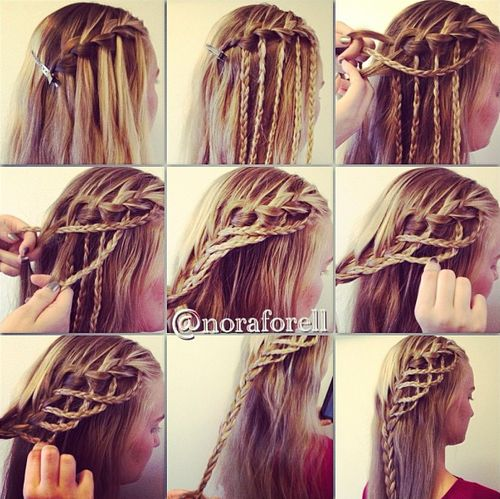 Waterfeall braid, then braid the strands that fall down in a regular braid, continue the water fall braid with the newly braided peices slowly letting the waterfall braid get lower, then finish off with a normal braid