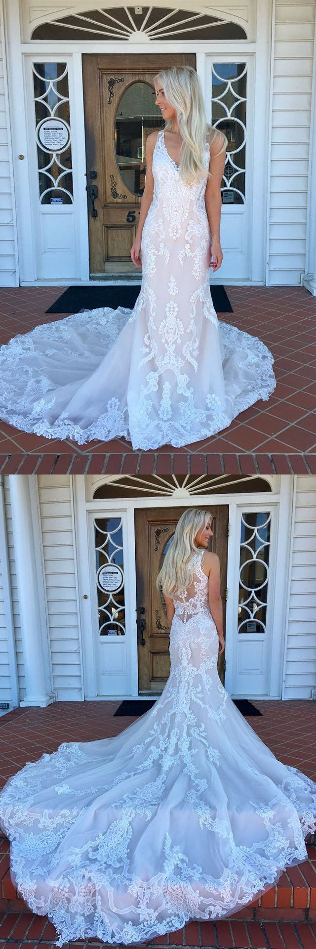 2018 white lace mermaid long weding dress with train