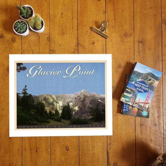 Glacier Point, Yosemite National Park. Vintage Style Print, California…
