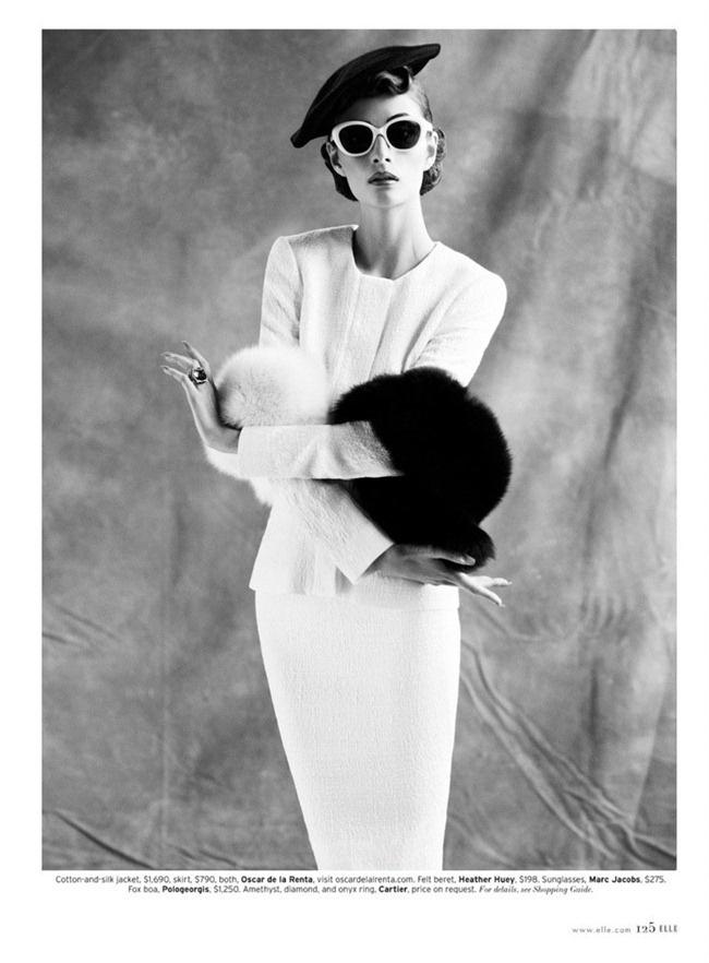 "ELLE MAGAZINE: Suzie Bird in ""50s Lady in Waiting"" by Photogrpaher Thomas Whiteside"