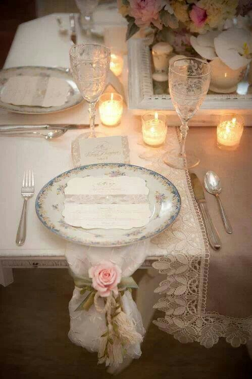 Romantic Table Setting With Lace And Candles The Antique