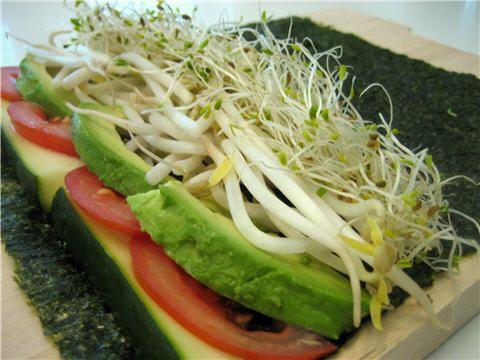 Raw, rice-less, low-cal sushi veggie rolls