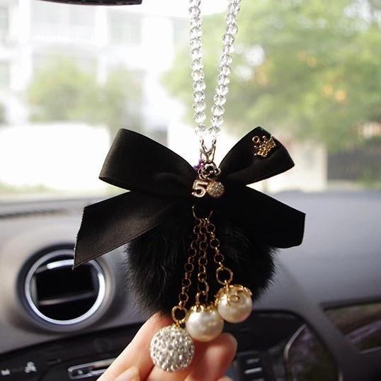 Car Hanging Charm-Crystal Pearls Pom Pom Rear View Pendant - Carsoda - 1