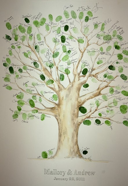 Wedding tree instead of a guestbook! Guests left fingerprints as leaves on the tree, and signed their names.