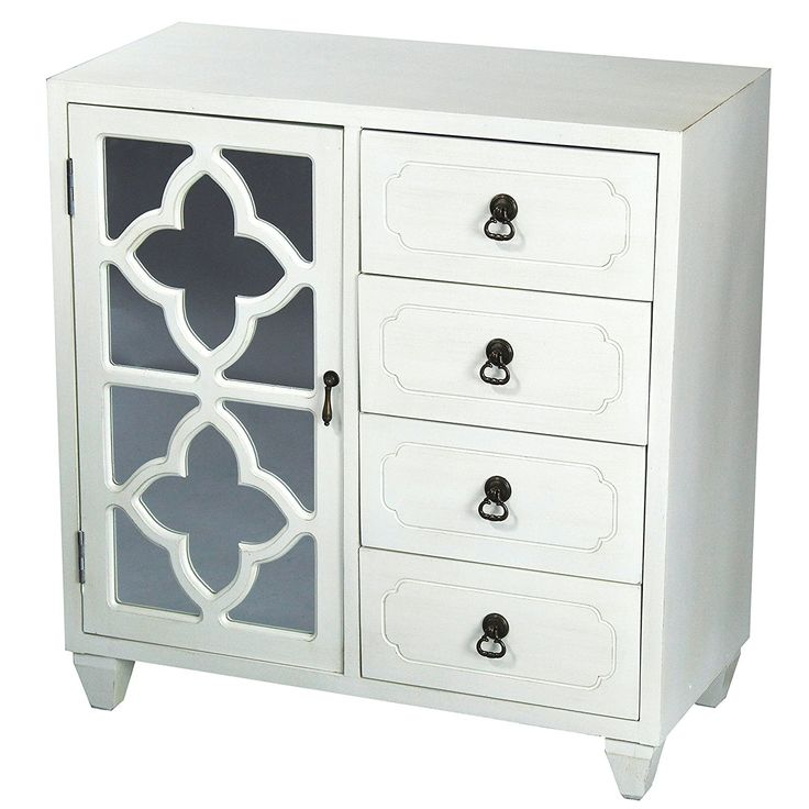"""Amazon.com: Heather Ann Creations 4 Drawer Wooden Accent Chest and Cabinet, Clover Pattern Grille with Mirrored Backing, 30.75""""H x 29.5""""W, Antique White: Kitchen & Dining"""