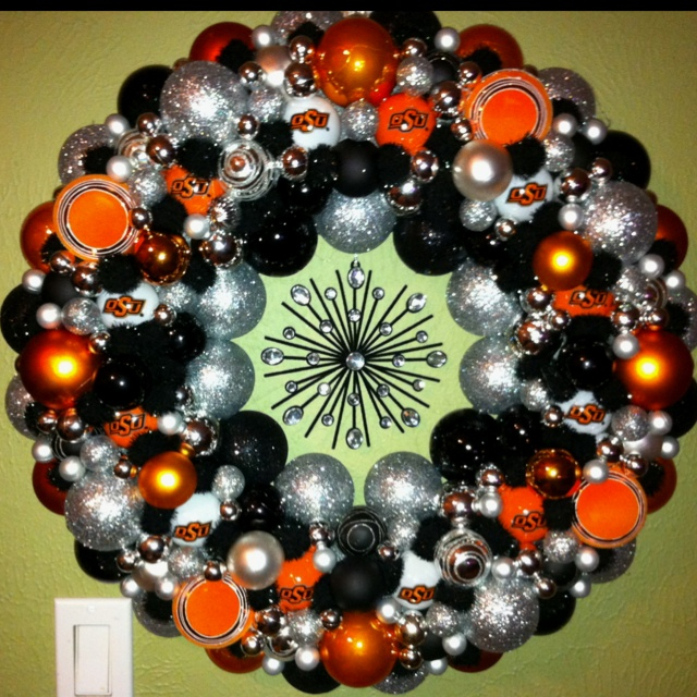Oklahoma State Christmas Ornament Wreath. I want this!