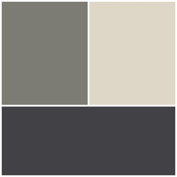 Exterior colour scheme. Top left Resene Tapa half strength. Top right Resene  Thorndon cream.  Bottom Colourbond Monument.