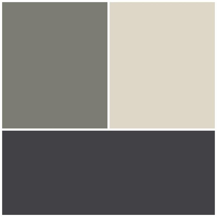 Exterior colour scheme. Top left Resene Tapa half strength. Top right Resene Thorndon cream. Bottom Colourbond Monument.