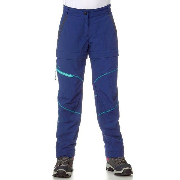 vetement de sport enfant Decathlon pantalon modulable en bleu et vert randonee