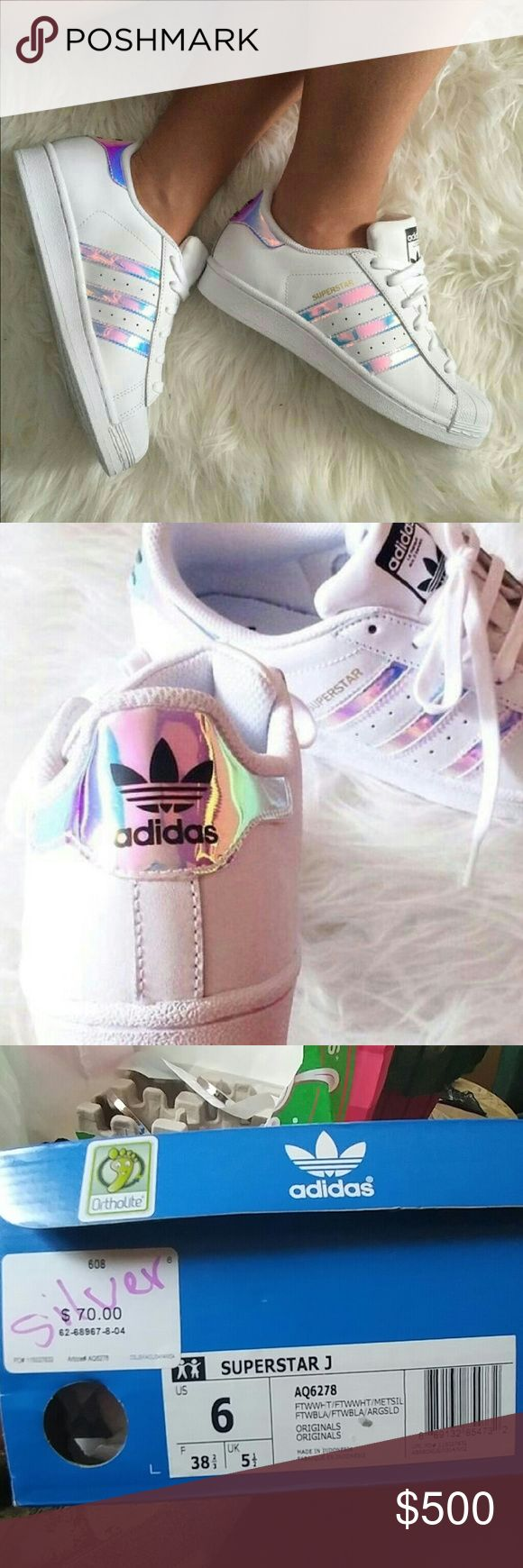 RARE adidas superstar iridescent new in box adidas. Sold out. Size 6 kids-8 womens. No trades no low balls. Open to offers, only letting go for a good price. ?? Adidas Shoes Sneakers