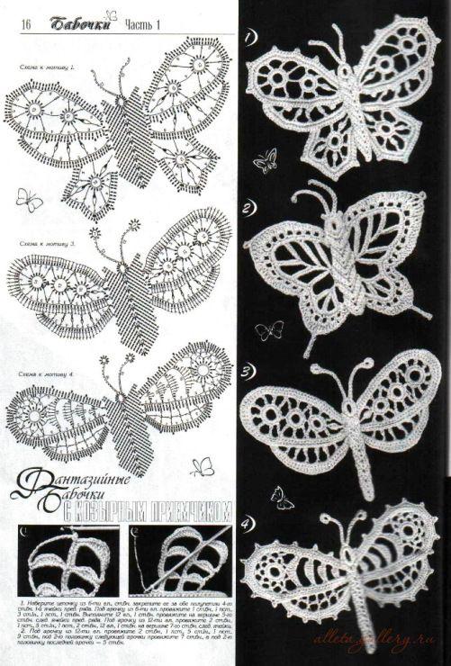 Lindas borboletas em crochê