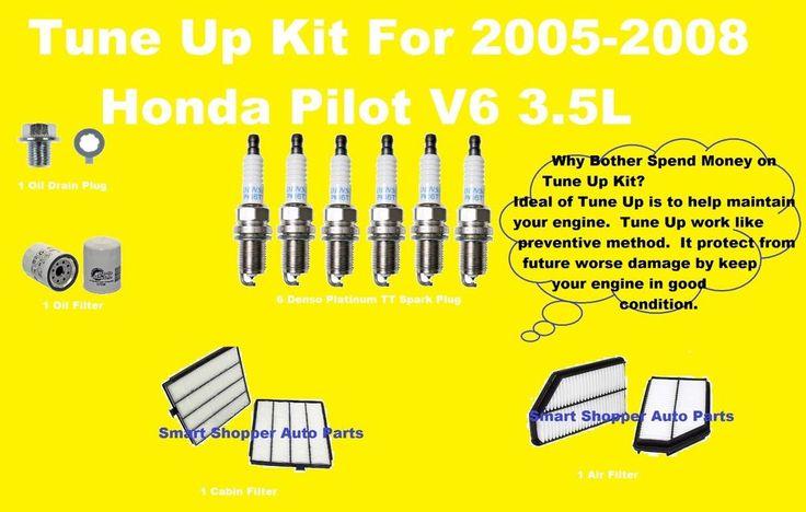 Tune Up Kit for 2005-2008 Honda Pilot Spark Plug, Oil Air Cabin Filter, Oil Drai
