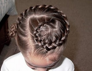 Swiss French Braid.. I'll give V's hair another couple years to grow before this is possible.