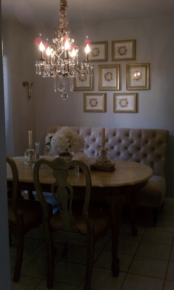 Glam Dining Room Love That Chandelier Idea Put Settee Up Against Wall To Allow More Space In