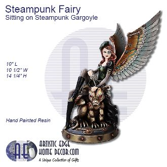Steampunk Fairy Sitting on Glaring Steampunk Gargoyle