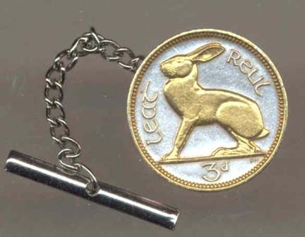 """Ireland 3 Pence """"Rabbit"""" Two Tone Coin Tie Tack"": Please note that a Next Day shipping service is not… #Sport #Football #Rugby #IceHockey"