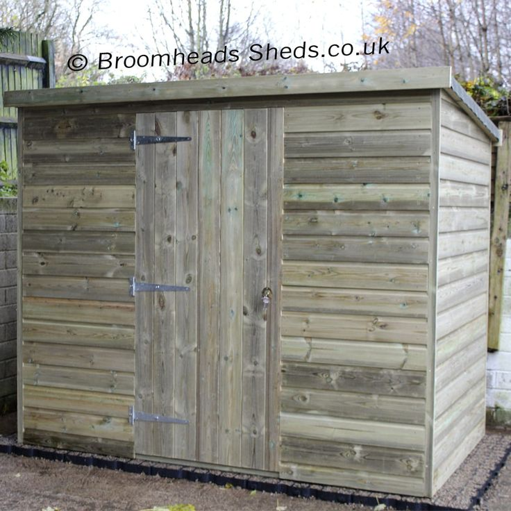 Heights 5ft 6in, 6ft and 6ft 6in option Tanalised Timber Pent Roof Shed. Double doors or Single door in either the width or depth side.