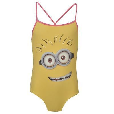 Girls Despicable Me Minion yellow swimsuit with cross back straps