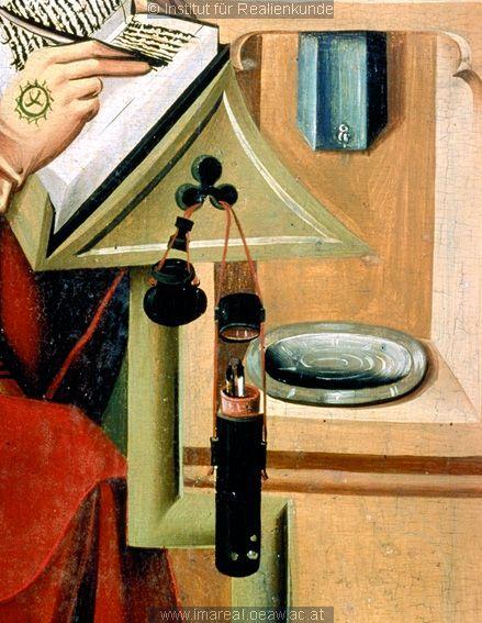 scribes tools: detail from Hl. Ambrosius: Kunstwerk: Temperamalerei-Holz ; Einrichtung sakral ; Flügelaltar ; Oberösterreich  Dokumentation: 1490 ; 1500 ; Kremsmünster ; Österreich ; Oberösterreich ; Stiftsgalerie  Anmerkungen: 80x47