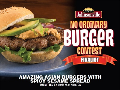 """""""Amazing Asian Burgers w/ Spicy Sesame Spread"""" made with Johnsonville Brat Patties by Jamie B."""