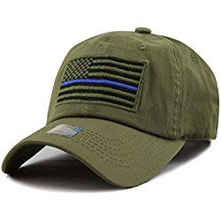The Hat Depot Low Profile Tactical Operator USA Flag Blue Line Buckle Cotton Cap (Olive)