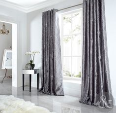 Accessories, : Fantastic WHite Furry Rug And Grey Satin Curtain WIth Chrome Tube Rod Also White Wooden Side Table For Room Interior Decoration Ideas In Cream And Grey Curtains Design