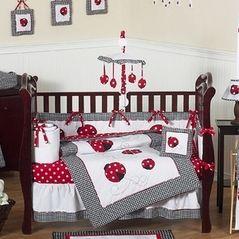 Red & White Polka Dot Ladybug Baby Bedding - 9 pc Crib Set  Asian baby bedding